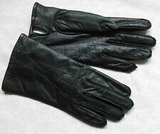 VINTAGE WOMENS LEATHER GLOVES 1970'S 1980'S RETRO BLACK MEDIUM LARGE 7.5