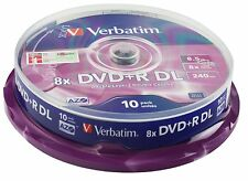 10 DVD+R VERBATIM 8X DL DUAL LAYER 8,5 GB DOUBLE XBOX 360 VUOTI AZO