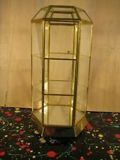 Brass tone & Glass Hexagon 6-side Small Tabletop Curio Display Cabinet w Shelves
