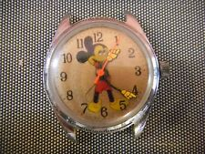 Vintage Bradley Wind Up Mechanical Disney Mickey Mouse Watch Gold Face One Jewel