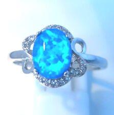 ** nuevo ** impresionante Elegante Anillo Oval fuego azul tamaño de Reino Unido R