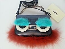 NEW Auth FENDI Bag Bug Micro Baguette Monster 2 WAY Bag Leather Crossbody Navy
