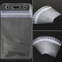 EP_ 10Pcs Vertical Transparent Vinyl Plastic Clear ID Card Badge Holder with Zip