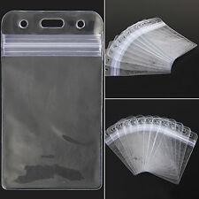 10 PIÈCES VERTICAL TRANSPARENT vinyle plastique porte carte d'identité ou badge