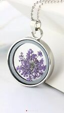 "Purple Mini Dried Flowers Round In Glass Charm Tibetan 18"" Necklace D586 *7*"