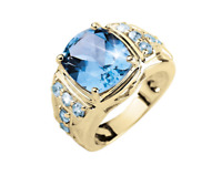 22K Solid Yellow Gold Natural Blue Topaz Gem Stone Men's Ring