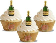 12 Novelty Champagne Bottle Happy Birthday Edible Cake Toppers Decorations Cute