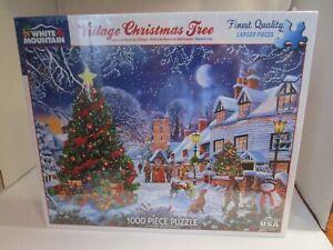 White Mountain ~ Village Christmas Tree 1000 Piece Jigsaw Puzzle USA Sealed NEW