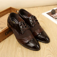 Men's Oxfords Lace up Shoes Formal Business Dress Casual Pointed Toe Wedding UK
