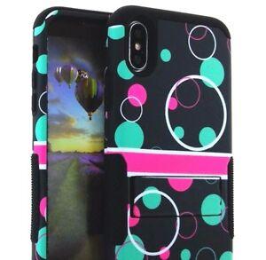 iPhone X / XS - Hybrid HARD&SOFT Kickstand Armor Skin Case Mint Blue Pink Bubble
