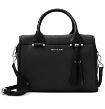 NWT MICHAEL Kors GENEVA LARGE SATCHEL BLACK Leather BAG ~MSRP$378