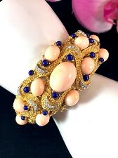 CROWN TRIFARI GOLD-TONE ANGEL SKIN CORAL UNDER THE SEA CABOCHON CUFF BRACELET