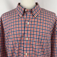Saddlebred Big Tall Mens Orange Blue Plaid Wrinkle Free Dress Shirt Sz 3X