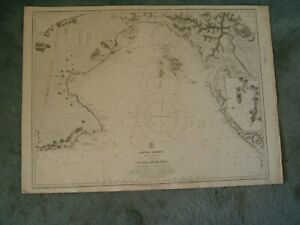 Vintage Admiralty Chart 2267 CENTRAL AMERICA - GULF OF PANAMA 1915 edn