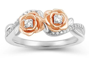 Enchanted Disney 14K Rose Gold Over 1/5 Ct Belle Double Rose Ring 925 Silver