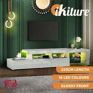 Oikiture TV Stand Cabinet LED Entertainment Unit Gloss Wooden 3 Drawers White