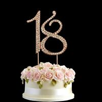 Rose Gold Diamante Rhinestone Cake Pick Topper Birthdays Anniversary Number- 18