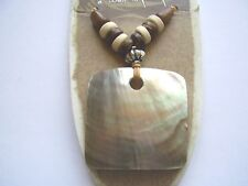 Earth & Surf brown shell square pendant wood bead light brown cord necklace