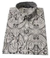 Relco Black/White Paisley Men's Classic Mod Vintage Design Shirt`s