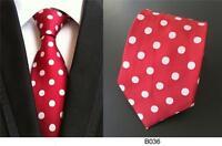 Red and White Polka Dot Handmade 100% Silk Wedding Tie