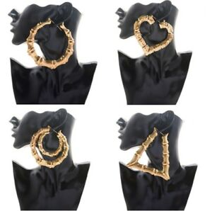 Large Womens Bamboo Earrings Gold Hoop Hip-Hop Big Ladies Circle Hoops Bling UK