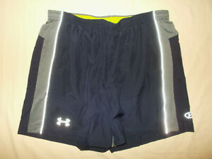 UNDER ARMOUR CATALYST BLUE REFLECTIVE RUNNING SHORTS WITH LINER MENS LARGE EXC.