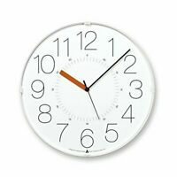 Lemnos CARA Wall Clock Japan White Orange Hand AWA13-08 WH-O 4515030074724