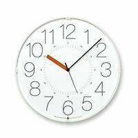 Lemnos CARA Wall Clock Japan White Orange Hand AWA13-08 WH-O 4515030074724