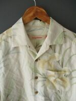 "TOMMY BAHAMA SILK SHIRT (M-40"") FLORAL JUNGLE LILIES PALM-LEAF CREAM SHORT-SLEEV"