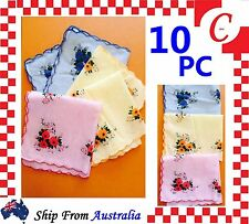 10PC Women Ladies HANDKERCHIEFS Cotton Pocket Square Hanky Handkerchief New Bulk