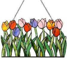 Stained Glass Panel for Window Tiffany Style Suncatchers Flowers Tulips Spring S