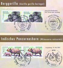 BRD 2001: Berggorilla und Nashorn Nr. 2182+2183 mit Sonderstempeln! 1A! 1908-