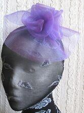 Violet Fleur Fascinator Millinery Broche Clip Mariage Chapeau Cérémonie Ascot Course