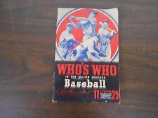 1943 WHO'S WHO IN THE MAJOR LEAGUES BASEBALL BY JOHN P. CARMICHAEL