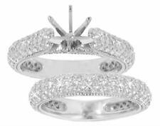 2.40ct Ladies Pave Set Diamond Cut Diamond Semi Mout Engagement Ring In Platinum