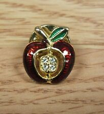 Apple Pin / Brooch *Read* Unbranded Red & Green Rhinestone Collectible