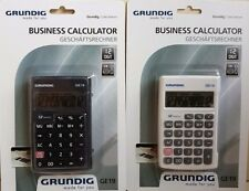 2x Grundig Business Calculator 12-Digit LCD Display ge19 Black & White