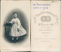 Jeanne de Bourdeille CDV vintage albumen,  Tirage albuminé  6,5x10,5  Circ