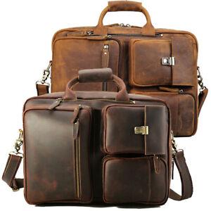"Men Full Grain Leather Briefcase 16"" Laptop Bag Handbag Backpack School Bag TOTE"