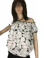 Womens Top Chiffon Relaxes Flowy Off The Shulder Ruffle Crop Offshoulder S Petit