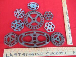 9 Vintage Valve Handles Water Faucet Knobs STEAMPUNK Industrial Arts & Crafts  2
