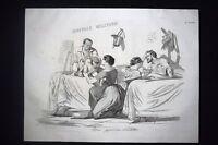 Incisione d'allegoria e satira Roma, desiderio di vendetta Don Pirlone 1851