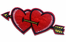 Red Double Love Heart Embroidered Iron Sew On Patch Valentine Cupid Arrow Badge