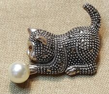 Vintage Sterling Silver Pearl Marcasite Playful Kitten Cat Brooch Pin Gift