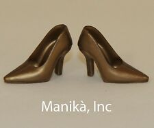 Randall Craig RTW Gold Pointed Toe Pumps (Spikes) for 12-inch Female Dolls