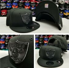Exclusive New Era NFL BLACK WHITE Oakland Raiders Shield 9Fifty Snapback Hat Cap