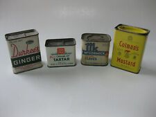 4 Vintage Spice Tins Durkee's Ginger Colman's Mustard McCormick Cloves Ann Page