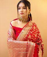 Pakistani sari Indian wedding Designer saree Kanchipuram red Silk party Ethnic