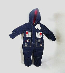 """Baby Boy's Navy & Red """"Woof"""" Snowsuit- Ages 0-3 mos & 3-6 mos- NEW"""