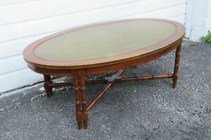 Hollywood Regency Mid Century  Oval Leather Top Bamboo Style Coffee Table 1400